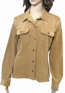 Crazy Horse by Liz Claiborne Tan 12 Tan L Western Buttoned 14 Long Sleeve Shirt Large Button Down Shirt brown