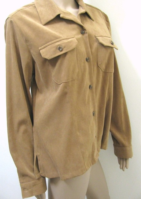 Crazy Horse by Liz Claiborne Tan Tan L Western Buttoned 14 Long Sleeve Shirt Large Button Down Shirt brown