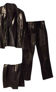 RAFFAELO Straight Pants BLACK GENUINE LEATHER AND SUEDES TANENED