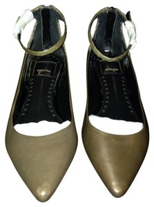 Dolce Vita Ankle Strap Flat Pointed Toe Olive Leather Flats