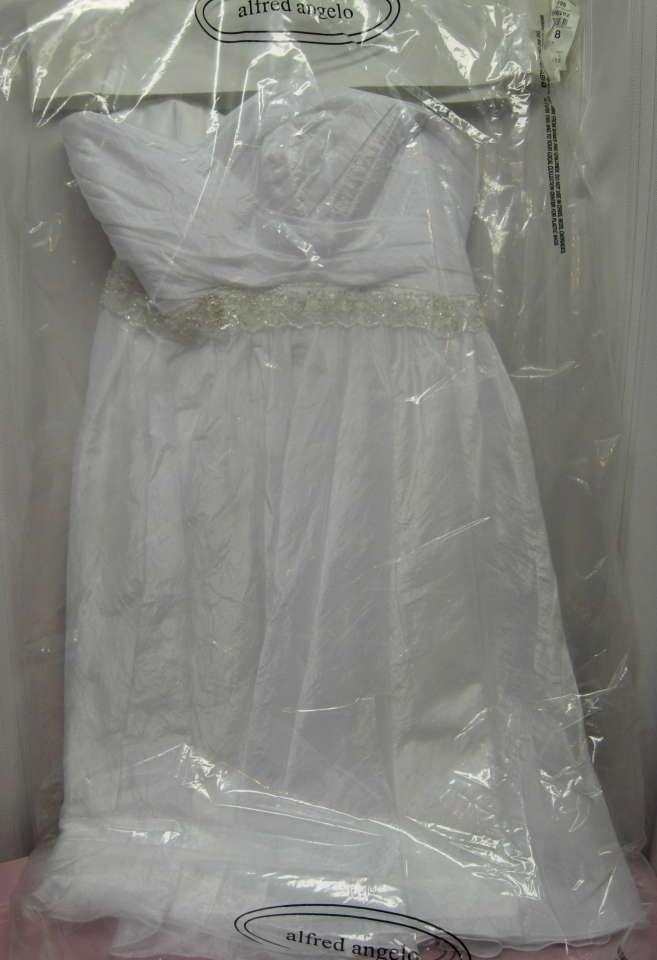 Alfred angelo white silver white wedding silver tea length for Silver tea length wedding dresses