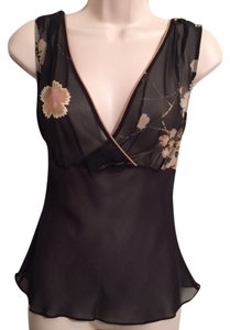 Max Studio Silk Night Out Sexy Top Black and multicolor floral