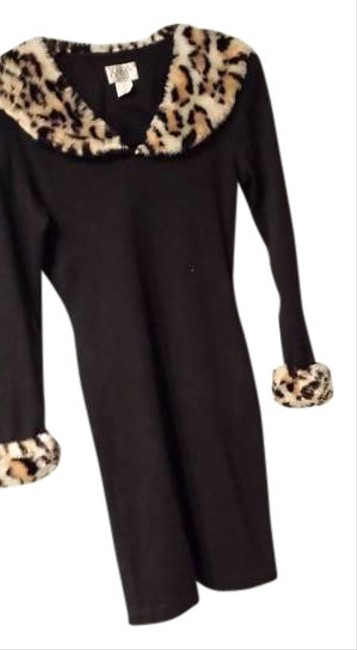 Preload https://item4.tradesy.com/images/black-with-faux-leopard-collarand-cufs-above-knee-short-casual-dress-size-petite-8-m-384003-0-0.jpg?width=400&height=650