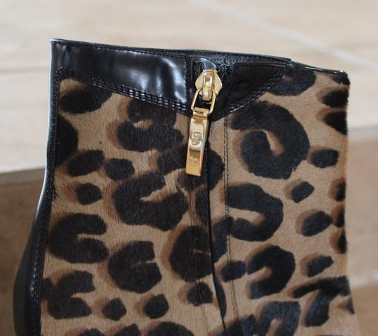 Louis Vuitton Beige Tan Black Leather Leopard Ponyhair Animal Print Ankle Logo Pointed Toe Gold Hardware Cap Top Lv Monogram Multicolor Boots