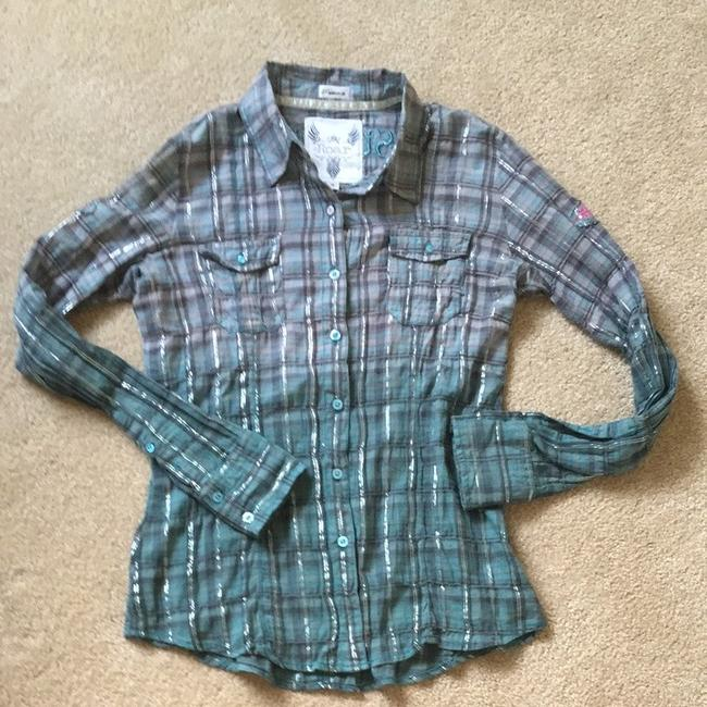 Other Button Down Shirt Roar Teal And Gray