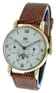 Geneve Vintage Universal Geneve Calendar 18K Gold 1940's Mechanical Watch