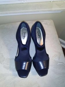 Coach and Four Navy Blue Wedges