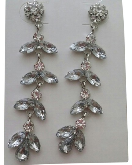 Other Leaf cluster drop clear white wedding earring bridal prom cz zircon flower lonng