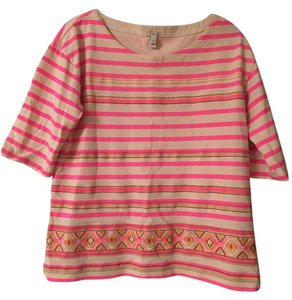 J.Crew Embroidered Striped T Shirt Pink