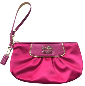 Coach Satin Wallet Wristlet in Magenta