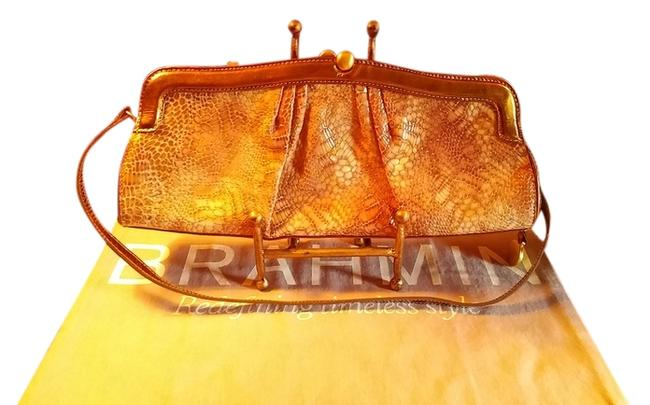 Item - Evening Bronze & Ivory Python Embossed Leather Clutch