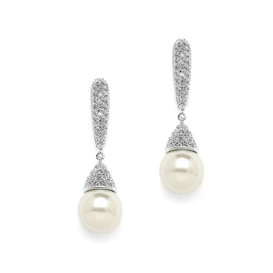 Mariell Ivory Pearl Drop Designer Wedding Earrings With Pave Cz 4262e