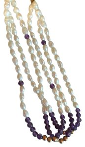 AUTHENTIC PEARL, AMETHYST, GOLD BEADS AND 14K GOLD SAFETY CLASP