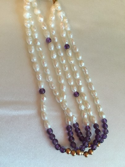 Other BRACELET-14K YELLOW GOLD DOUBLE CLASP WITH AMETHYST,GOLD BEADS,PEARLS