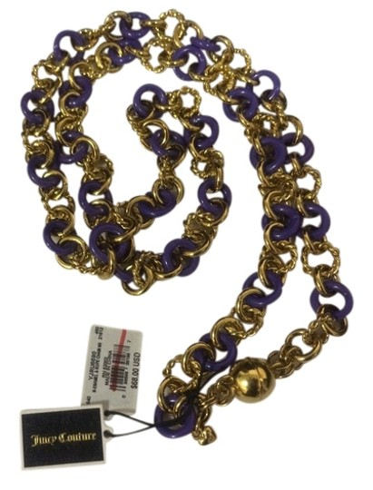 Juicy Couture JUICY COUTURE ENAMEL ROPE PERIWINKLE GOLD CHAIN LOGO NECKLACE #YJRU6690 $68.00
