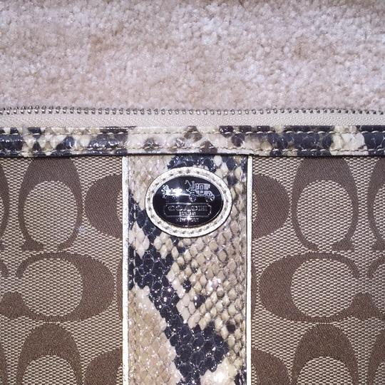 Coach Monogram Snakeskin Leather Wallet Fabric Brown Wristlet