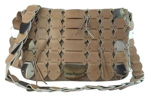 Salvatore Ferragamo Beige Unique Aged Metal Link Shoulder Bag