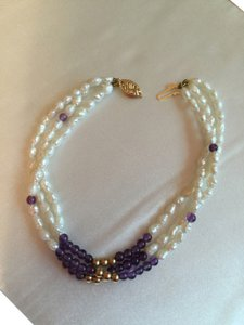 14K YELLOW GOLD AND AMETHYST BRACELET