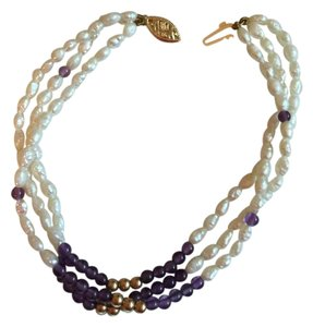 AUTHENTIC 14K YELLOW GOLD, PEARL AND AMETHYST MULTI STRAND BRACELET
