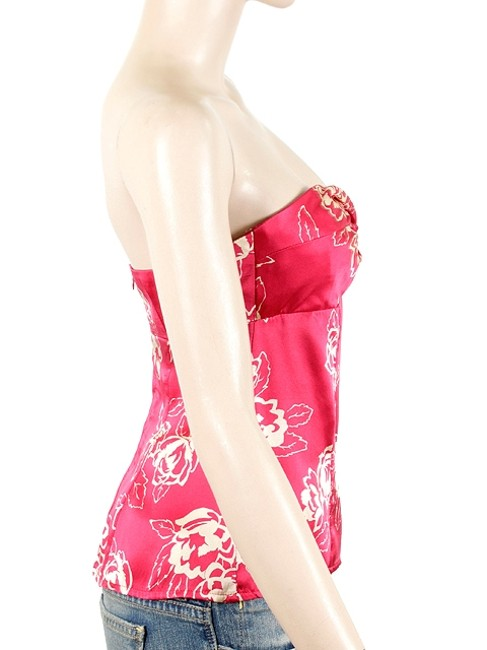Nanette Lepore Floral Strapless Silk Party Top Pink, Ivory
