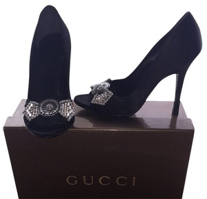 Gucci Satin Leather Formal Black Fancy New Designer Pumps
