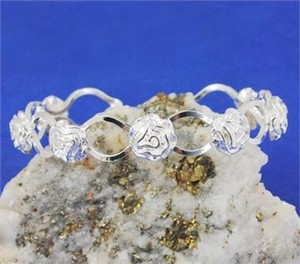Silver Rose Cuff Bracelet Free Shipping