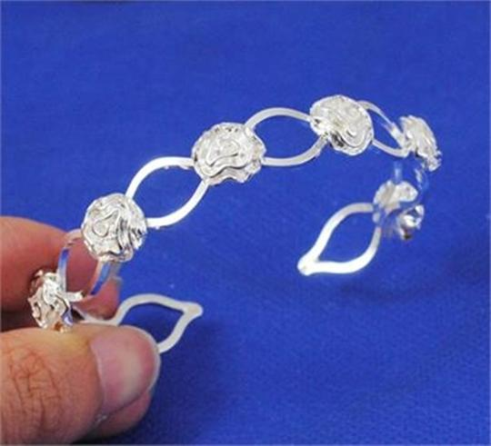 Silver Bogo Free Sterling Plated Rose Bud Cuff Free Shipping Bracelet