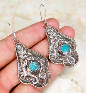 Vintage Hammered Turquoise Dangle Earrings Free Shipping