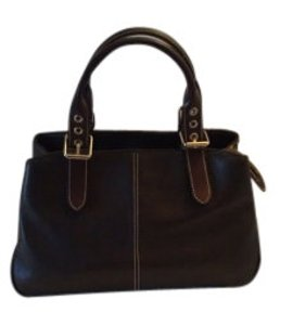 Dooney & Bourke Double Handles All Weather Leather Satchel in Dark Brown