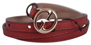 Gucci NWT Gucci Womens 362731 Leather Interlocking GG Buckle Skinny Belt 36 90