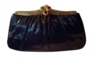 Judith Leiber Black with Gold Metal Hardware Clutch