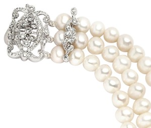 Silver/Rhodium Vintage Art Deco Fresh Water Pearls Bracelet