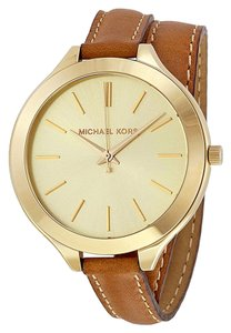 Michael Kors Michael Kors Champagne Dial Tan Leather Wrap Bracelet Ladies Watch