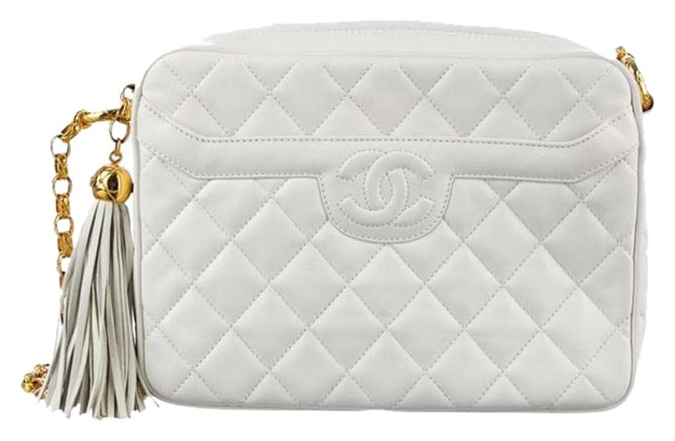 5f509efc1eed Chanel Camera Vintage Quilted Classic Timeless Jumbo Large Cc Logo Tassel  Fringe Bijoux Chain Link Gold White Ivory Lambskin Leather Cross Body Bag