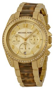 Michael Kors Michael Kors Champagne Crystal Dial Gold-tone Tortoise-shell Ladies Watch