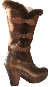 Frye Foldover Buckle Shearling brown Boots