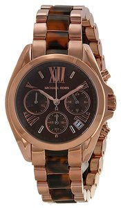 Michael Kors Michael Kors Brown Dial Rose Gold-tone and Tortoiseshell Ladies Watch