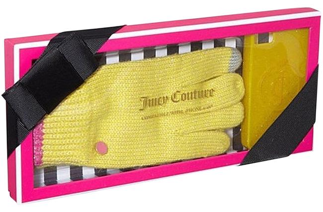 Item - Yellow/Pink/Gray Knit Text Gloves & Glitter Iphone 4/4s Case Set