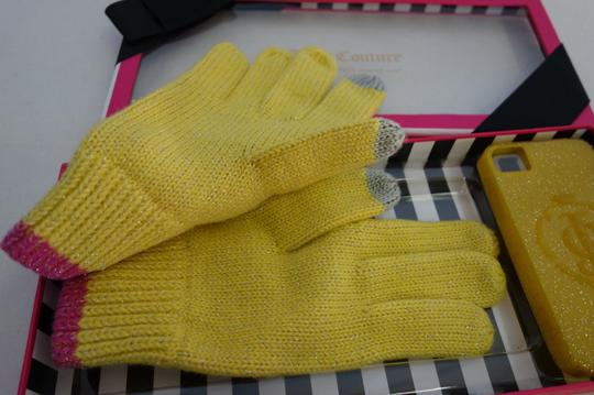 Juicy Couture YELLOW KNIT TEXT GLOVES & GLITTER IPHONE 4/4S CASE SET $78