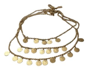 Stella & Dot Triple row gold coin necklace
