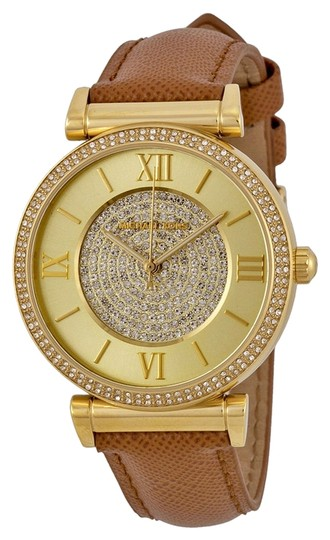 Michael Kors Michael Kors Champagne Crystal Pave Dial Brown Leather Ladies Watch