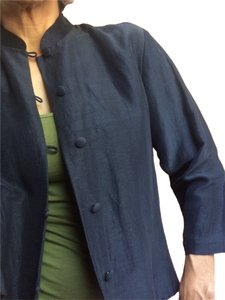 Eileen Fisher Silk Linen Mao Navy Blazer