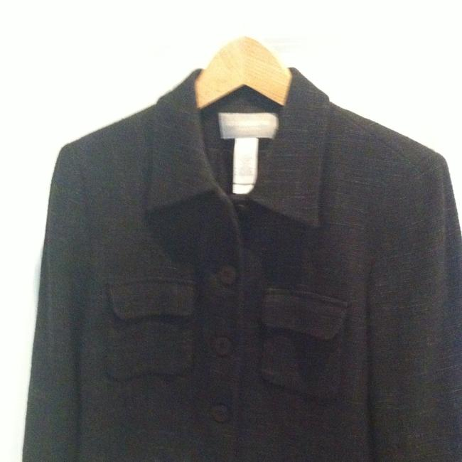 Liz Claiborne 8 Medium Jacket Linen Linen Blend Professional Interview Office Work Coat Separate Shirt Medium 8 Lined Sale Reduced Black With Gray In Woven Texture Blazer