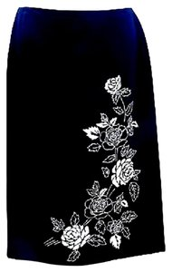 Ann Taylor LOFT Floral Embroidered Satin Pencil Skirt BLACK