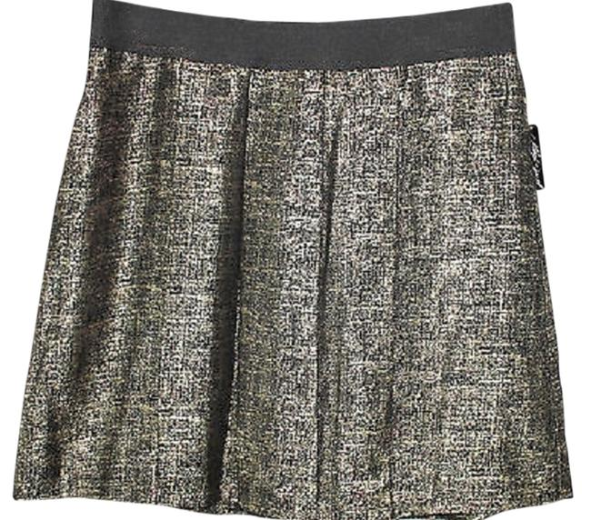 Lord & Taylor Pleated Skirt GOLD/BLACK