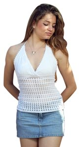 Lirome Casual Summer Resort White Halter Top
