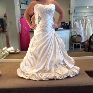 Maggie Sottero Ivory Satin Wedding Dress Size 14 (L)