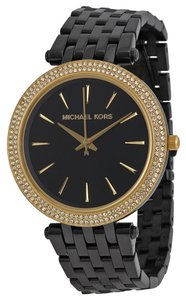 Michael Kors Michael Kors Black Dial Crystal Pave Bezel Black Ion-plated Ladies Watch