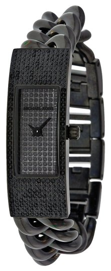 Michael Kors Michae Kors Black Crystal Pave Dial Black Ion-plated Ladies Watch
