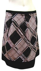 BCBGMAXAZRIA Kneelength Black Plaid Checkers Pocket Size 6 Small S Summer White Striped Diamond Women Skirt Brown